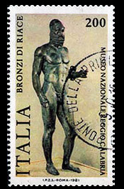 francobollo di un bronzo di riace